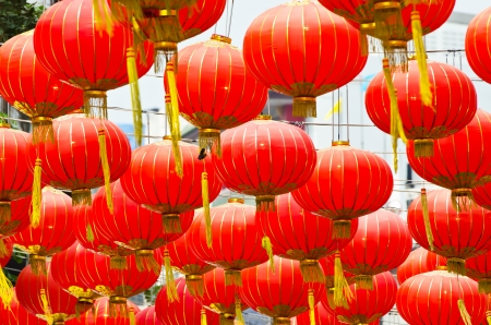 Red Chinese Lanterns decorate in Bangkok photo