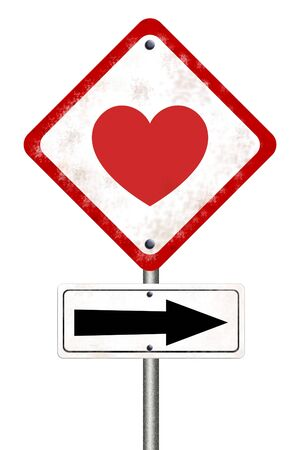 road sign with love isolated on white background photo