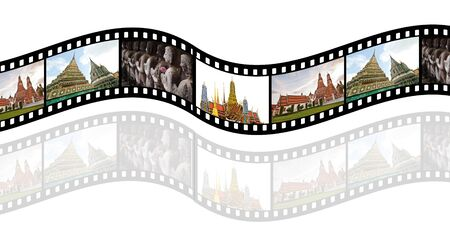 Film strip with  pictures of  tourist attraction in   Thailand  Concept of tourism in Thailand