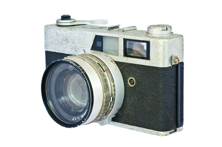 Old vintage rangefinder camera against white background  Clipping path included to replace background Stock Photo - 19154496