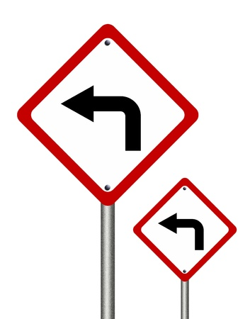Turn left  traffic sign isolated on white background photo