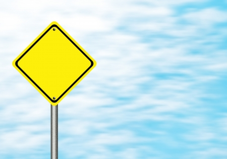 Blank  yellow traffic sign  on blue sky blank for text photo