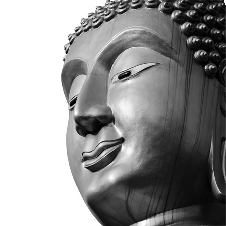Buddha face, processed with black and white style  photo