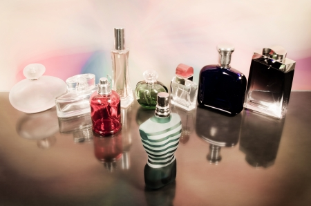 fragrance: set of luxury perfume bottles Processed with vintage style