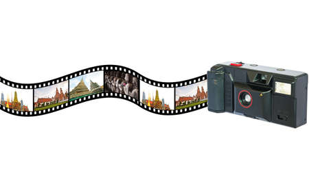 Old  vintage camera  with  pictures of  tourist attraction in Thailand in film strip  Concept of tourism in Thailand photo