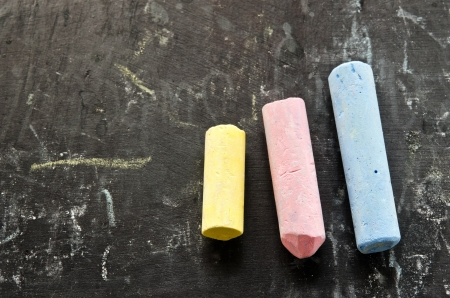 Close-up of colorful chalks on blackboard photo