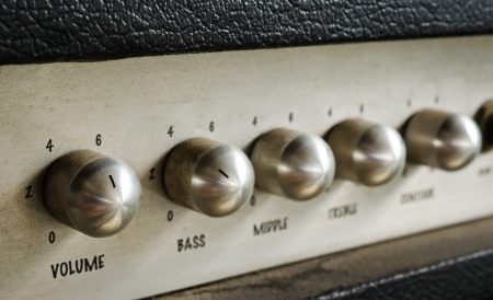 Close-up of guitar amplifier Stock Photo