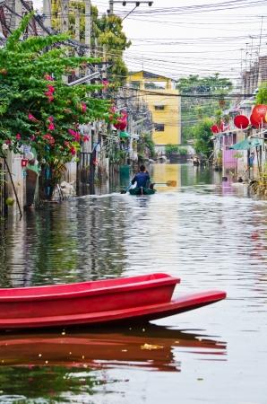 worst: BANGKOK, THAILAND - NOV 11: The worst flood on village at Jaransanitwong road    during Thai flood crisis on November 11, 2011 in Bangkok, Thailand