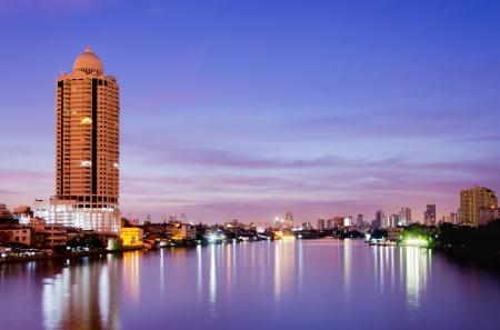 View of Bangkok city scape over sunrise photo
