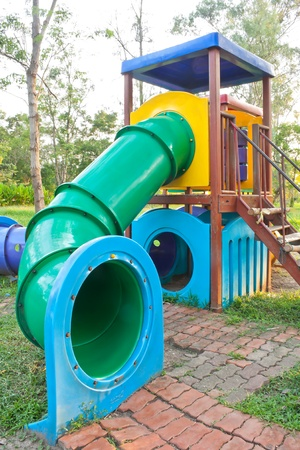 playground equipment: Big Colorful playground equipment in the park