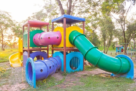 playground equipment: Colorful playground equipment in outdoor park