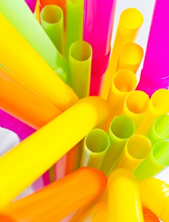 rainbow cocktail: Close-up of colourful drinking straws , can be used for background Stock Photo