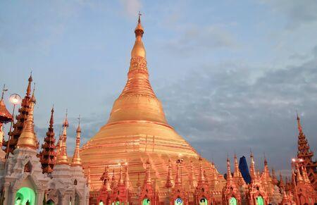 Beautiful view of Shwedagon golden pagoda in Yangon, Myanmar  Burma