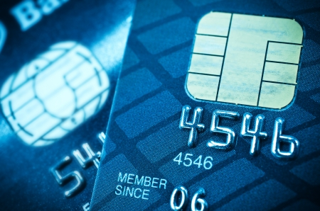 Closeup image of credit card and chip macro,selective focus  photo