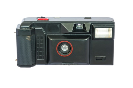 analogue: Old compact vintage camera against white background. Clipping path included to replace background.