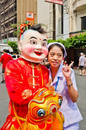 traditon: BANGKOK, THAILAND - FEBRUARY 10  Unidentified people celebrate with chinese new year parade  in Chinatown district during the Chinese New Year celebration on February 10, 2013 in Bangkok, Thailand