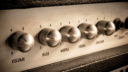amp: Close-up of guitar amplifier.Processed with vintage style. Stock Photo