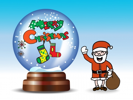 Snow globe with Christmas elements and Santa Claus    Vector
