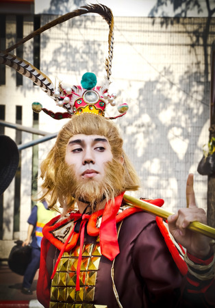 BANGKOK, THAILAND - JANUARY 31  Unidentified people  dress up like Monkey King  in Bangkok