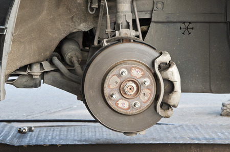 Detail of brake disk and the wheel assembly . photo