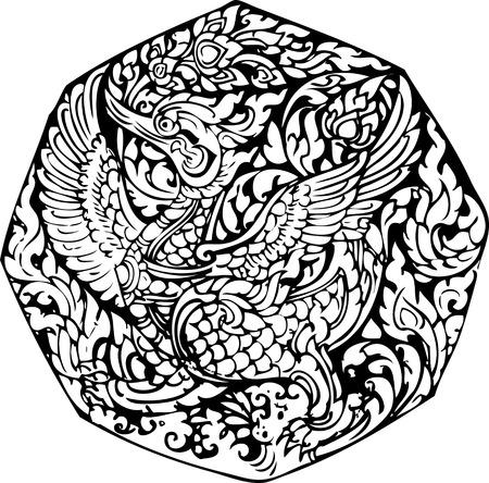 tempels: lijn thai Swan patroon, vector