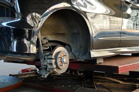 Modern Car take wheel off show disk brake assembly Reklamní fotografie