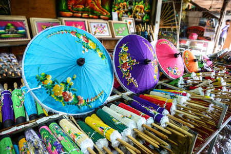CHIANGMAI, THAILAND - JULY 28: Colorful handmade umbrella for sale on July 28, 2014  in the village Bo Sang, Chiang Mai, Thailand. Bo Sang is known for its handmade umbrellas and parasols.