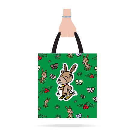 Hand with Christmas shopping bag.  Flat design.Vector EPS 10