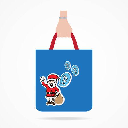 shoping bag: Hand with Christmas shopping bag.  Illustration