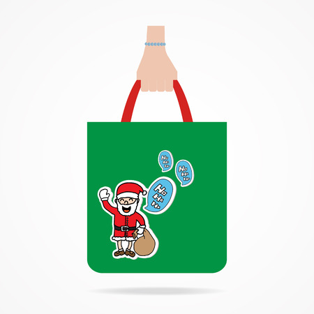 shoping bag: Hand with Christmas shopping bag.  Flat design.Vector EPS 10