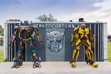 PHETCHABURI THAILAND  APR 14: The Replica of robot statue from Transformers display at Swiss ship farm on April 14 2015 in Phetchaburi province Thailand Editorial