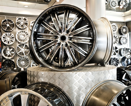alloy: Various alloy wheels in store. Stock Photo