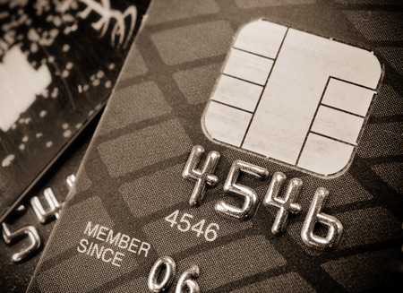 Closeup image of credit card and chip macro,selective focus.