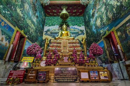 NAKHON PATHOM, THAILAND - FEBRUARY 25 : Luang Pho Wat Rai Khing statue has its legend that floated along the river and stopped at Wat Rai khing temple on February 25, 2015 in Nakhon Pathom, Thailand.