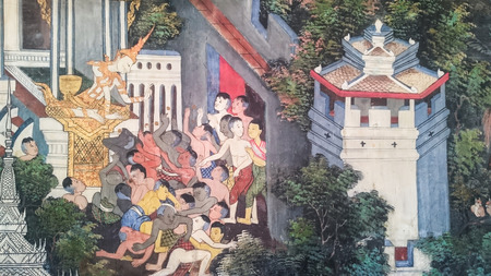 births: BANGKOK, THAILAND - JANUARY 2:  Thai style painting art , tales of the lord Buddhas former births  at Wat Nairong on January 2, 2017 in Bangkok,Thailand.