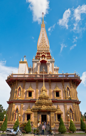 PHUKET, THAILAND SEPTEMBER 26: Pagoda in wat chalong or chalong temple  is the most famous temple in Phuket , Thailand on September 26, 2016. Editorial