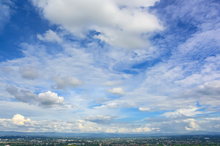 blue sky and clouds over chiang mai  city at view point, Thailand. Stock Photo