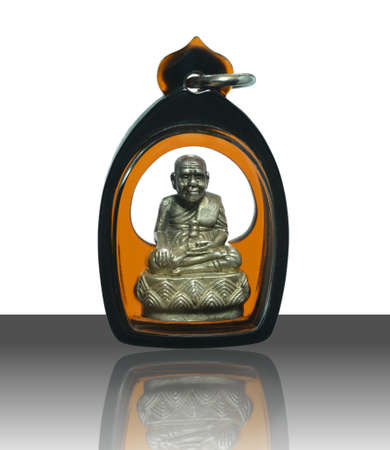 Small Buddha image or Amulet of thailand, Luang Pu Thuat on white background with shadow Standard-Bild