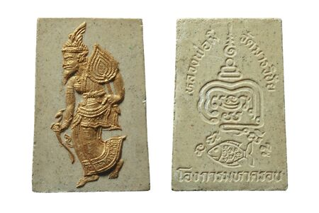 Amulet of thailand, Thai Hermit Statue Buddha Amulet on white background. Standard-Bild