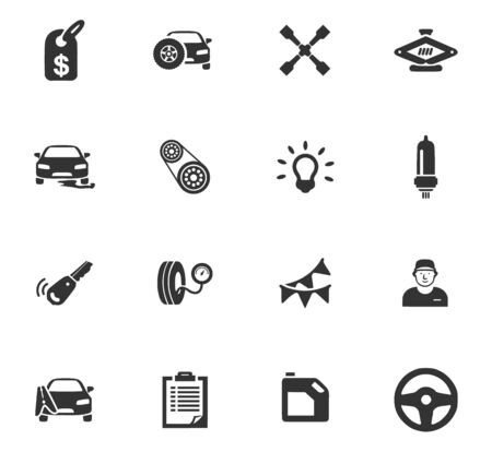 leaks: Car service maintenance icons set for website design