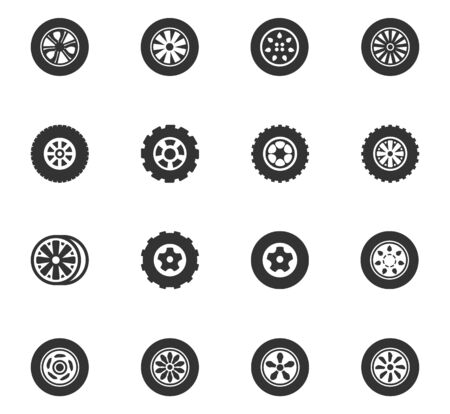 Wheels and Rims icons set and symbols for web user interface