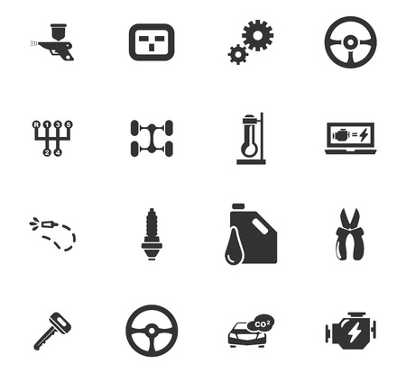 computerized: Car service maintenance icons set for website design