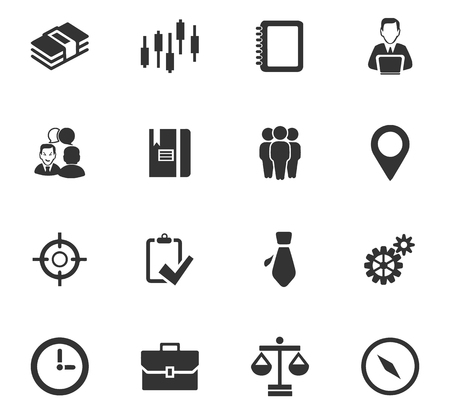 scale of justice: Business icons set and symbols for web user interface Illustration