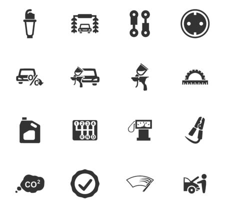 wipers: Car service maintenance icons set for website design