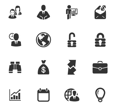 Business icons set and symbols for web user interface Ilustracja