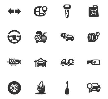 vulcanization: Car service maintenance icons set and symbols for web user interface