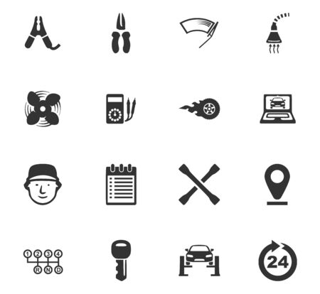 auto service: Car service maintenance icons set for website design