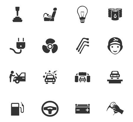 crowbar: Car service maintenance icons set for website design