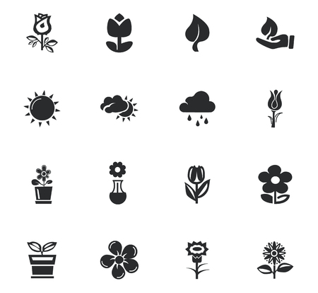 Flower icons set and symbols for web user interface