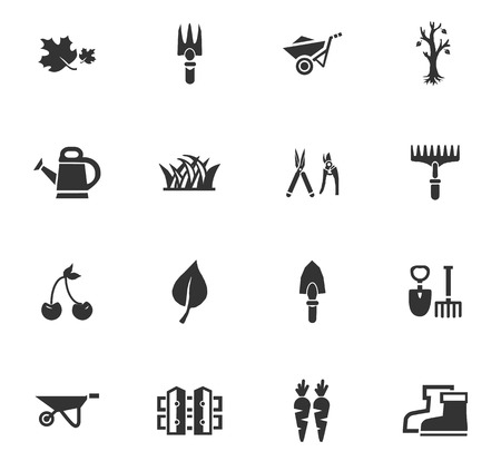 Gardening icons set and symbols for web user interface